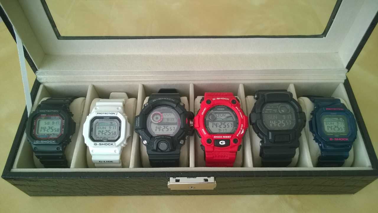 A collection of G-SHOCK watches: older purchases left, newer purchases right