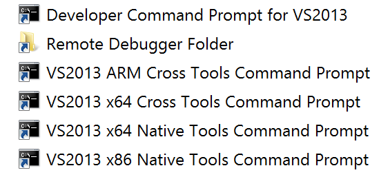 Visual Studio Tools Command Prompts