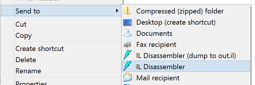 ILDasm in SendTo Context menu